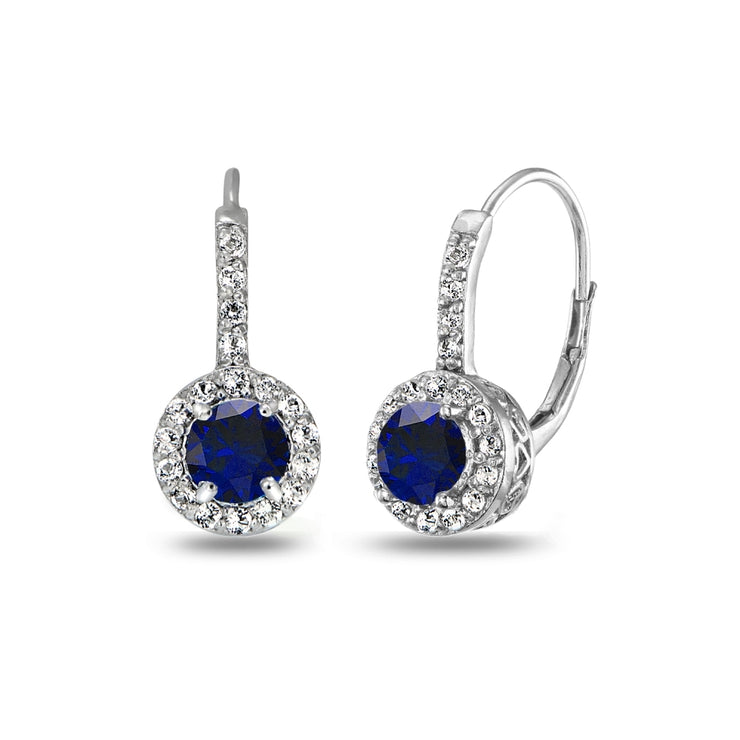 Sterling Silver Created Blue Sapphire & White Topaz Round Dainty Halo Leverback Earrings