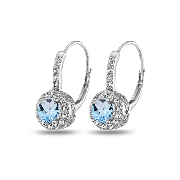 Sterling Silver Blue & White Topaz Round Dainty Halo Leverback Earrings
