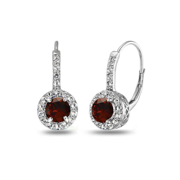 Sterling Silver Garnet & White Topaz Round Dainty Halo Leverback Earrings