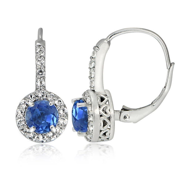 Sterling Silver Genuine Kyanite and White Topaz Round Leverback Earrings
