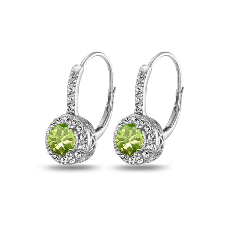 Sterling Silver Peridot & White Topaz Round Dainty Halo Leverback Earrings
