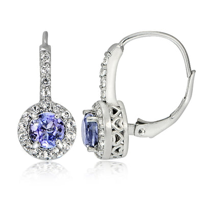 Sterling Silver 2ct Tanzanite & White Topaz Round Leverback Earring