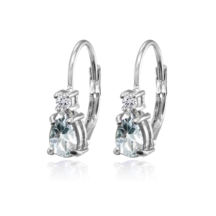 Sterling Silver Aquamarine and White Topaz Dainty Teardrop Huggie Leverback Earrings