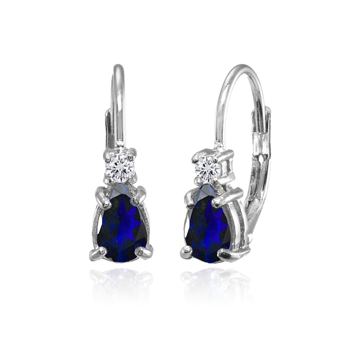 Sterling Silver Created Blue Sapphire and White Topaz Dainty Teardrop Huggie Leverback Earrings