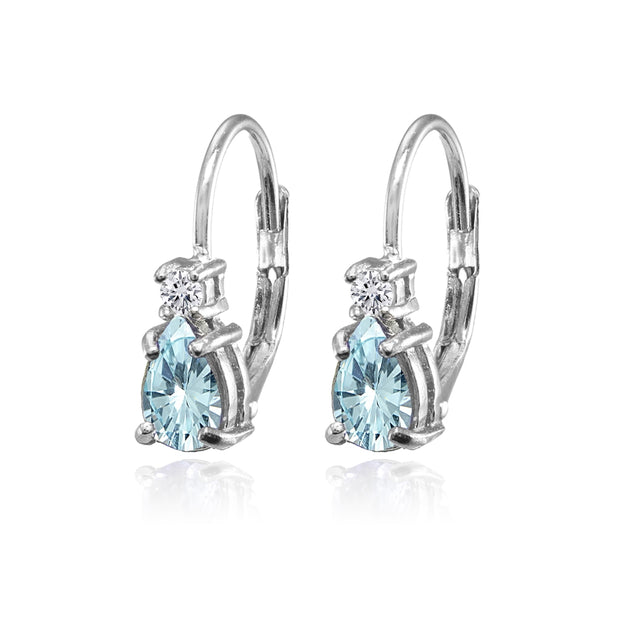 Sterling Silver Blue and White Topaz Dainty Teardrop Huggie Leverback Earrings