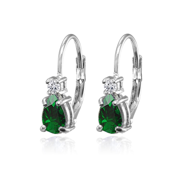 Sterling Silver Created Emerald and White Topaz Dainty Teardrop Huggie Leverback Earrings