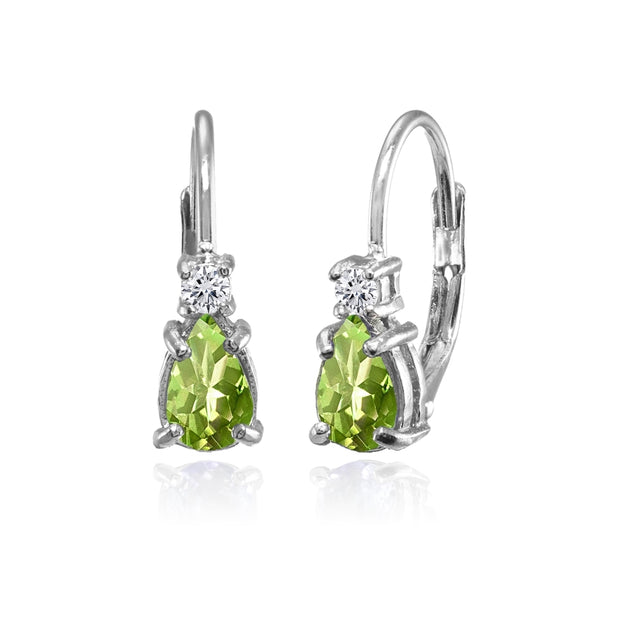 Sterling Silver Peridot and White Topaz Dainty Teardrop Huggie Leverback Earrings
