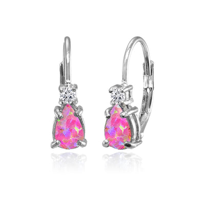 Sterling Silver Created Pink Opal & White Topaz Teardrop Leverback Earrings