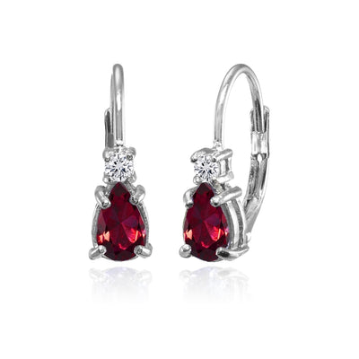 Sterling Silver Created Ruby and White Topaz Dainty Teardrop Huggie Leverback Earrings