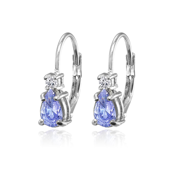 Sterling Silver Tanzanite and White Topaz Dainty Teardrop Huggie Leverback Earrings