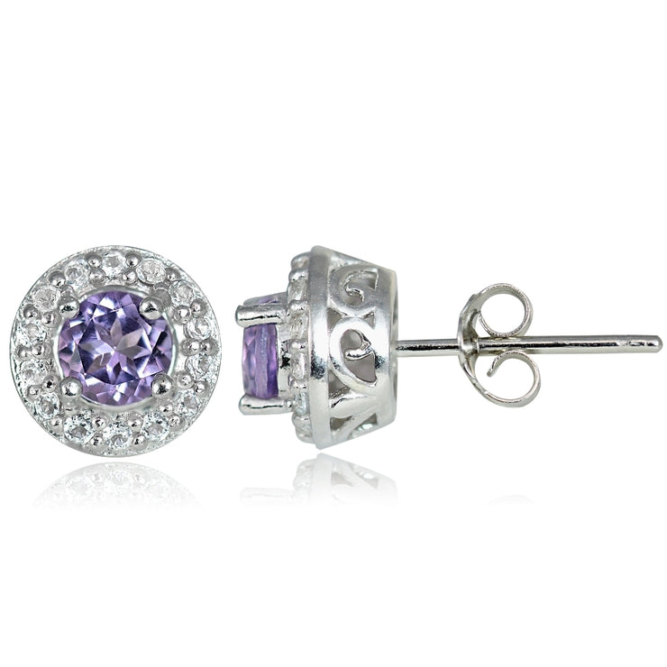Sterling Silver 0.55ct Amethyst & White Topaz 4mm Halo Stud Earrings