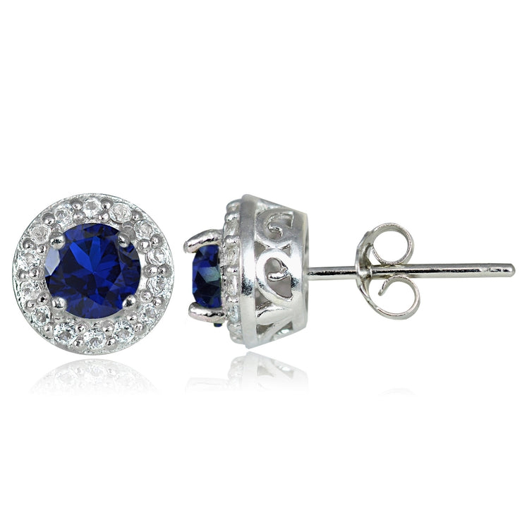 Sterling Silver 0.75ct Created Blue Sapphire & White Topaz 4mm Halo Stud Earrings