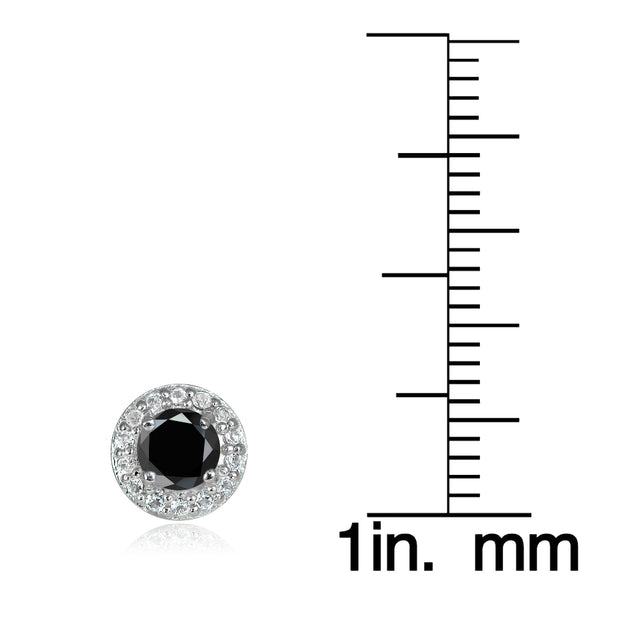 Sterling Silver 0.75ct Black Spinel & White Topaz 4mm Halo Stud Earrings