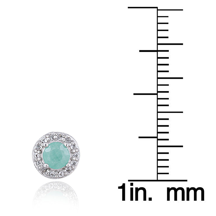 Sterling Silver 0.80ct Emerald & White Topaz Halo Stud Earrings