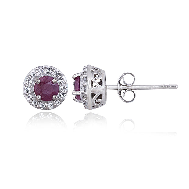 Sterling Silver 1 ct Ruby & White Topaz Halo Stud Earrings
