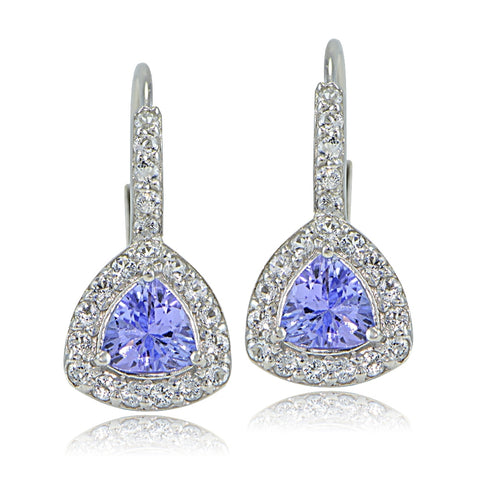 Sterling Silver Tanzanite & White Topaz Trillion-Cut Leverback Earrings