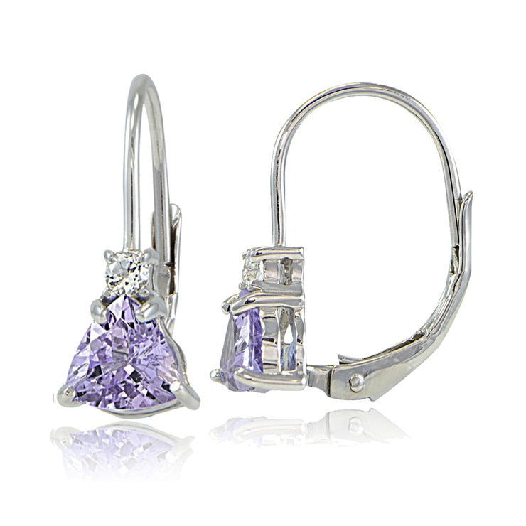 Sterling Silver Amethyst & White Topaz Trillion-Cut Leverback Drop Earrings