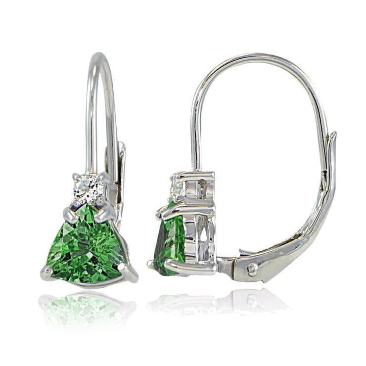 Sterling Silver Created Emerald & White Topaz Trillion-Cut Leverback Drop Earrings