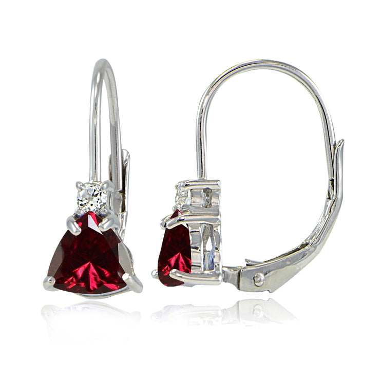 Sterling Silver Created Ruby & White Topaz Trillion-Cut Leverback Drop Earrings