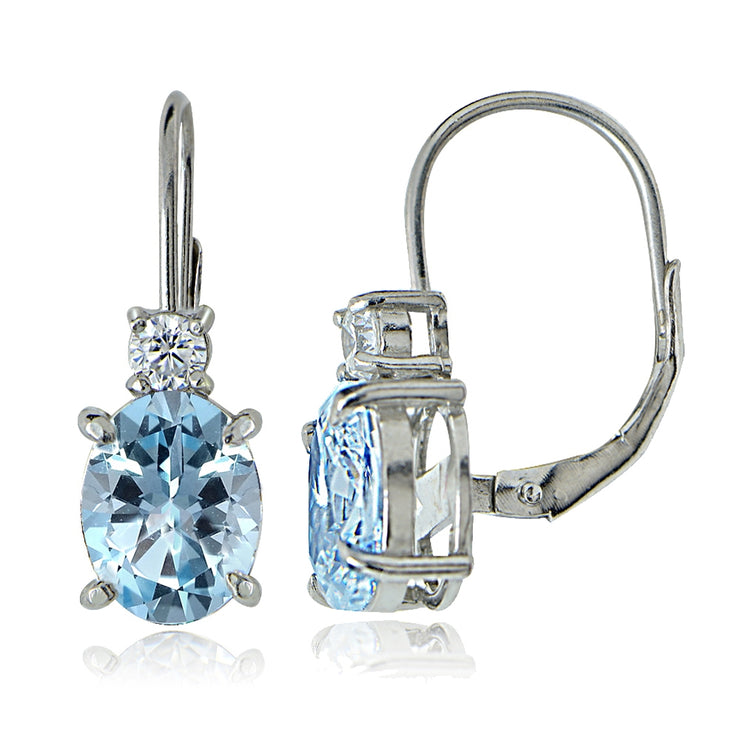 Sterling Silver White Topaz and Blue Topaz Leverback Earrings