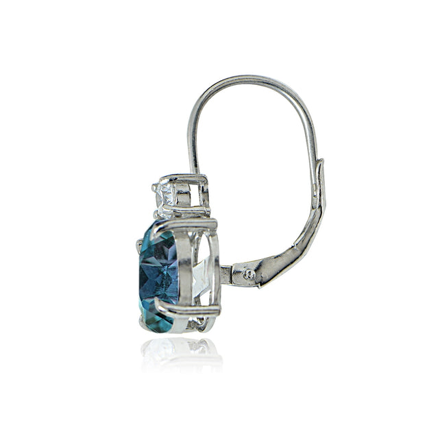Sterling Silver White Topaz and London Blue Topaz Leverback Earrings