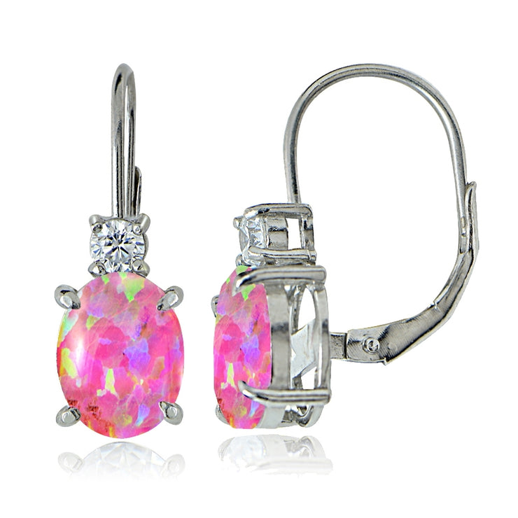 Sterling Silver White Topaz and Created Pink Opal Leverback Earrings