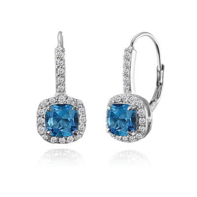 Sterling Silver London Blue & White Topaz Cushion-cut Leverback Earrings