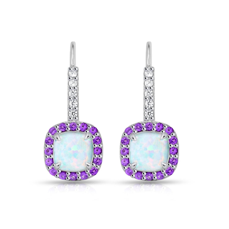 Sterling Silver Created White Opal & Amethyst Cushion-cut  Halo Leverback Earrings