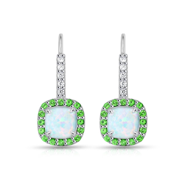 Sterling Silver Created White Opal & Emerald Cushion-cut  Halo Leverback Earrings