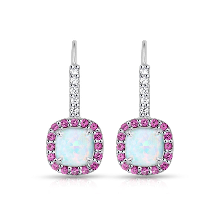 Sterling Silver Created White Opal & Ruby Cushion-cut  Halo Leverback Earrings
