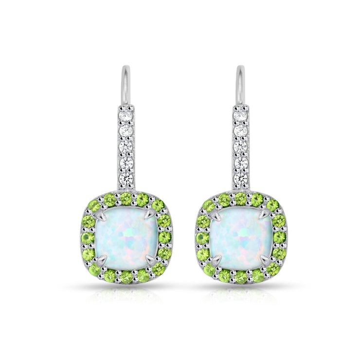 Sterling Silver Created White Opal & Peridot Cushion-cut  Halo Leverback Earrings
