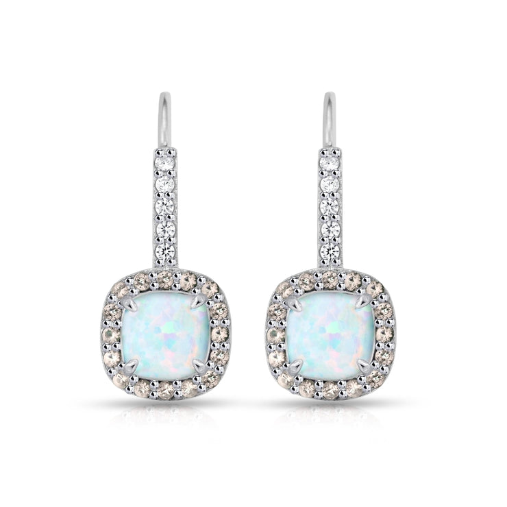 Sterling Silver Created White Opal & Morganite Cushion-cut  Halo Leverback Earrings