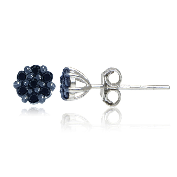 Sterling Silver 1/6ct tdw Blue Diamond Flower Stud Earrings