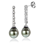 Sterling Silver 11mm Tahitian Cultured Pearl & White Topaz Line Dangle Earrings