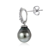 Sterling Silver 11mm Tahitian Cultured Pearl & White Topaz Loop Drop Earrings