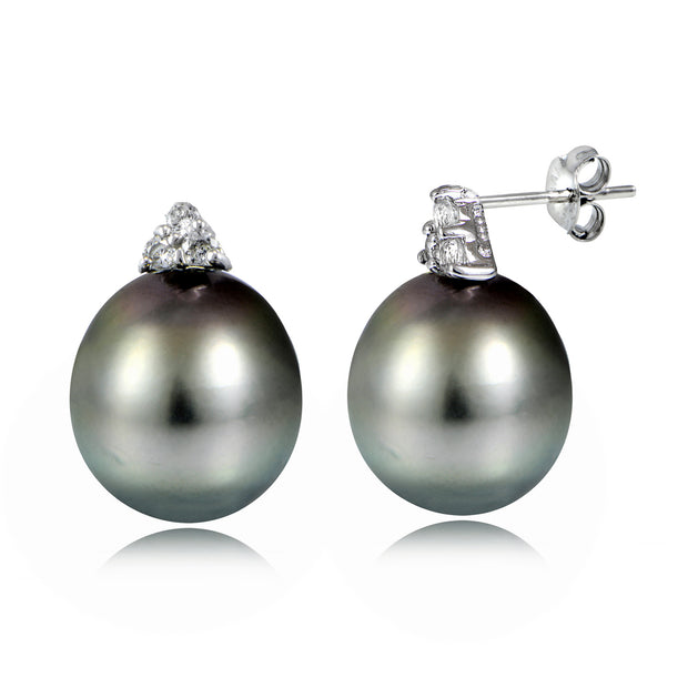 Sterling Silver 11mm Tahitian Cultured Pearl & White Topaz Stud Earrings