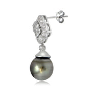 Sterling Silver 11mm Tahitian Cultured Pearl & White Topaz Floral Earrings