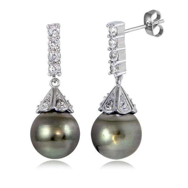 Sterling Silver 11mm Tahitian Cultured Pearl & White Topaz Pyramid Drop Earrings