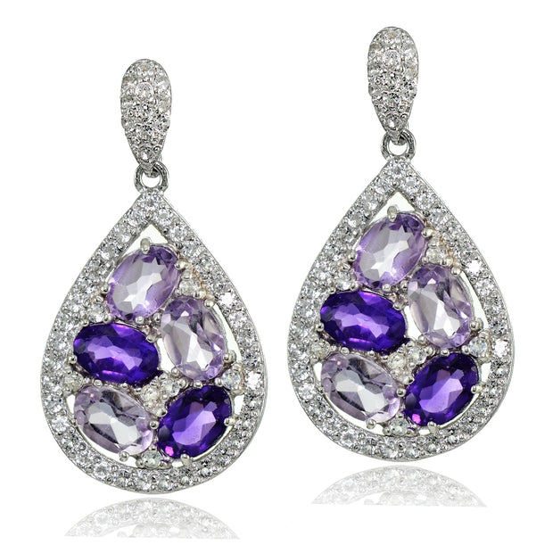 Sterling Silver African Amethyst, Amethyst and White Topaz Teardrop Cluster Tonal Earrings