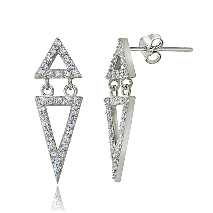 Sterling Silver Cubic Zirconia Double Triangle Earrings