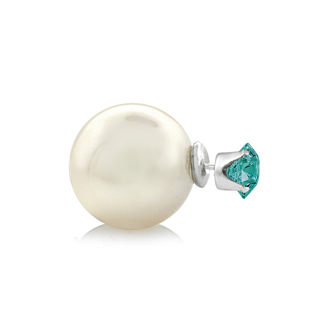 Sterling Silver Emerald Swarovski Elements & Simulated Pearl Front Back Stud Earrings