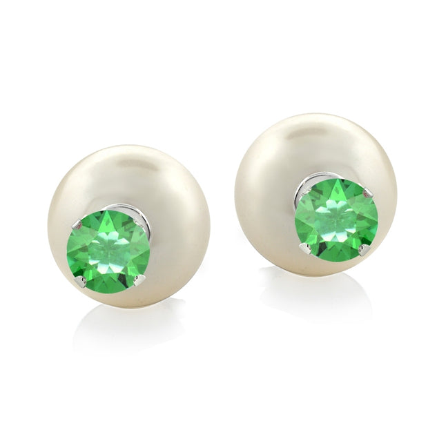 Sterling Silver Peridot Swarovski Elements & Created Pearl Front Back Stud Earrings