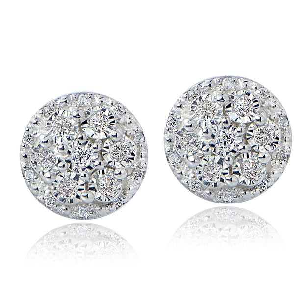 Sterling Silver 0.25ct tdw Diamond Miracle Set Cluster Earrings