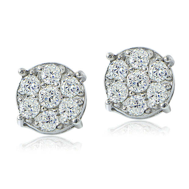 Sterling Silver 0.60ct tdw Diamond Cluster Earrings