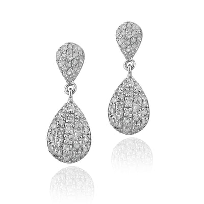Sterling Silver 0.90 CTTW Diamond Teardrop Dangle Earrings, H-I, I2