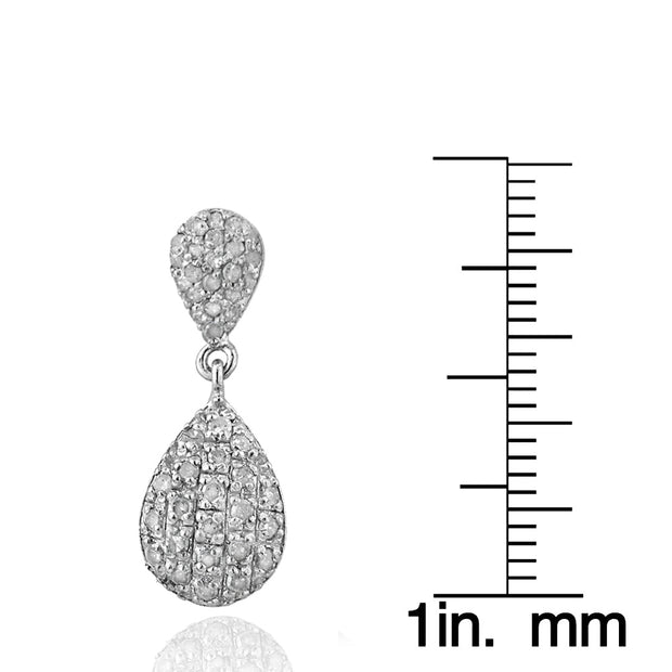 Sterling Silver 0.90 ct tdw Diamond Teardrop Dangle Earrings, H-I, I2