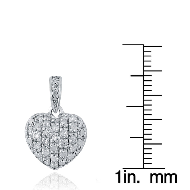 Sterling Silver 0.75 ct tdw Diamond Heart Drop Earrings, H-I, I2