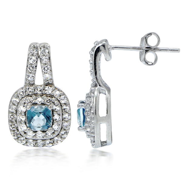 Sterling Silver 1.4ct Blue & White Topaz Cushion-Cut Earrings