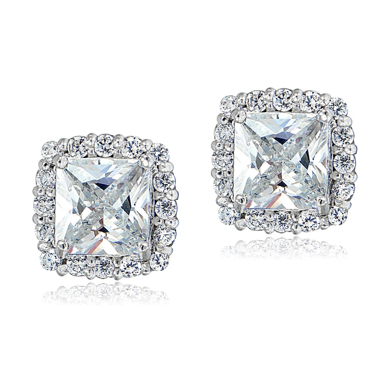 Sterling Silver Cubic Zirconia Princess-Cut Square Halo Stud Earrings