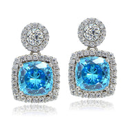 Platinum Plated Sterling Silver 100 Facets Light Blue Cubic Zirconia Cushion-Cut Dangle Earrings